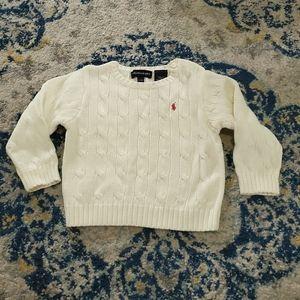 Ralph Lauren Baby Crew Neck Cable Sweater Cream